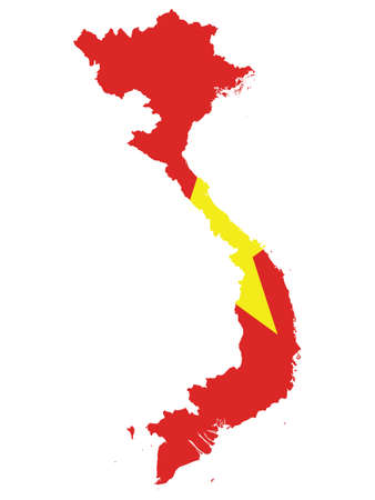 Vector Illustration of the Flag Incorporated Into the Map of Vietnam Illustration