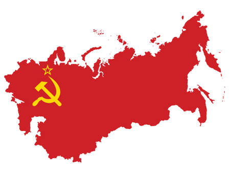 Vector Illustration of the Flag Incorporated Into the Map of USSR (former Soviet Union)