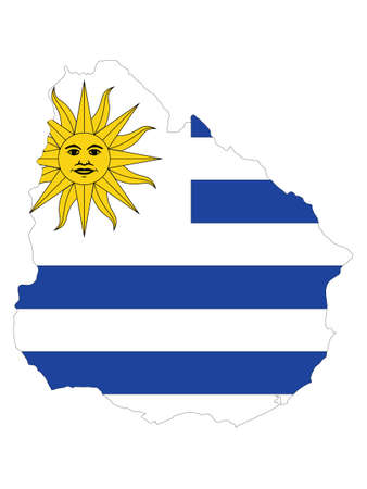 Vector Illustration of the Flag Incorporated Into the Map of Uruguay