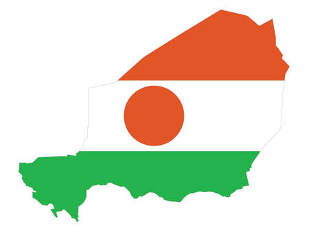 Vector Illustration of the Flag Incorporated Into the Map of Niger Illustration