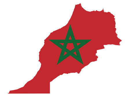 Vector Illustration of the Flag Incorporated Into the Map of Morocco