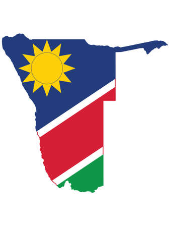 Vector Illustration of the Flag Incorporated Into the Map of Namibia