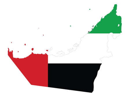 Vector Illustration of the Flag Incorporated Into the Map of United Arab Emirates