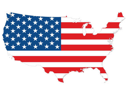 Vector Illustration of the Flag Incorporated Into the Map of Mainland USA Banque d'images - 157123879