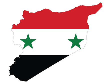 Vector Illustration of the Flag Incorporated Into the Map of Syria