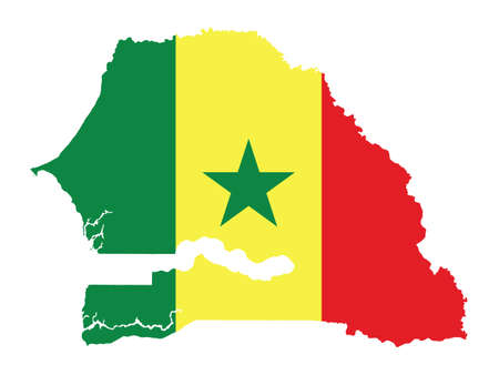 Vector Illustration of the Flag Incorporated Into the Map of Senegal