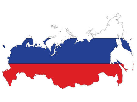 Vector Illustration of the Flag Incorporated Into the Map of Russia