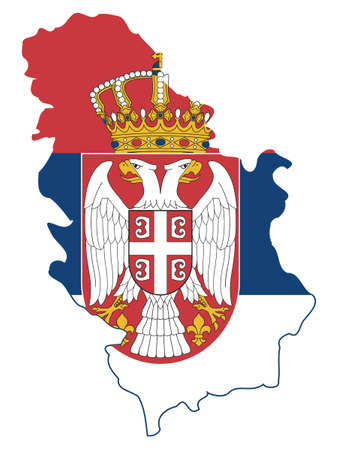 Vector Illustration of the Flag Incorporated Into the Map of Serbia Illustration