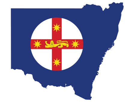 Vector Illustration of the Flag Map of Australian State of New South Wales