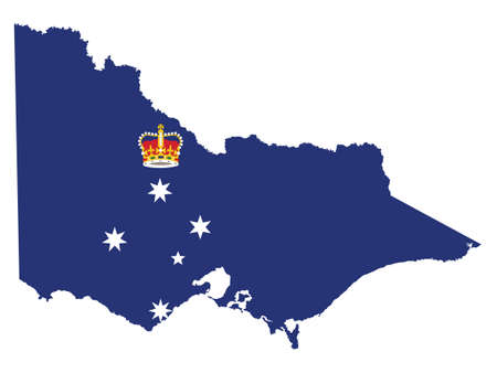 Vector Illustration of the Flag Map of Australian State of Victoria