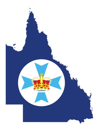 Vector Illustration of the Flag Map of Australian State of Queensland