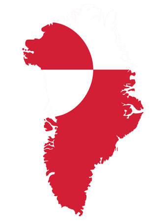 Vector Illustration of the Flag Map of Danish Autonomous Territory of Greenland
