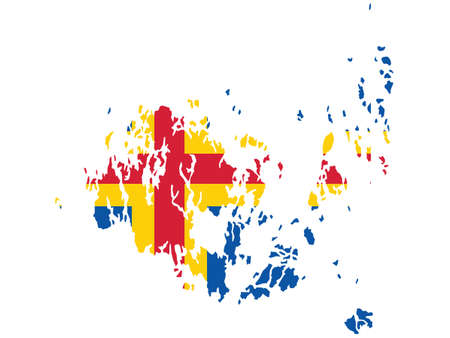 Vector Illustration of the Flag Map of Finish Autonomous Region of Aland Islands