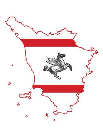 Vector Illustration of the Flag Map of Italian Region of Tuscany Ilustrace