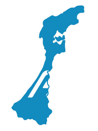 Vector Illustration of the Flag Map of Japanese Prefecture of Ishikawa Vektorové ilustrace
