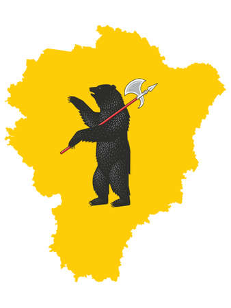 Vector Illustration of the Flag Map of Russian Federal Subject of Yaroslavl Oblast