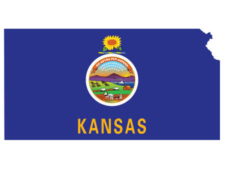 Vector Illustration of the Flag Map of USA Federal State of Kansas