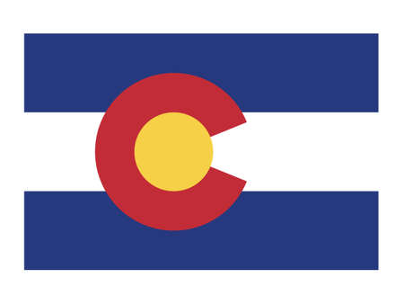Vector Illustration of the Flag Map of USA Federal State of Colorado