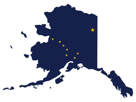 Vector Illustration of the Flag Map of USA Federal State of Alaska