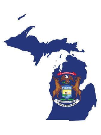 Vector Illustration of the Flag Map of USA Federal State of Michigan