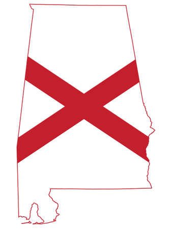 Vector Illustration of the Flag Map of USA Federal State of Alabama