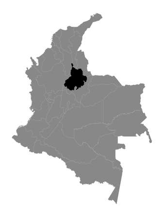 Black Location Map of the Colombian Department of Santander within Grey Map of Colombia
