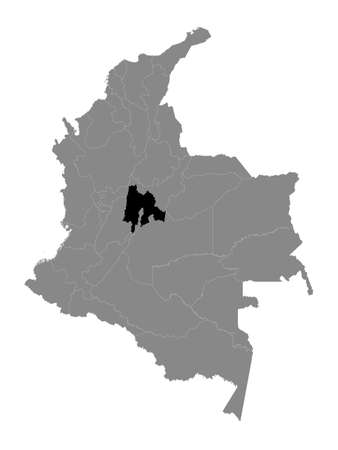 Black Location Map of the Colombian Department of Cundinamarca within Grey Map of Colombia