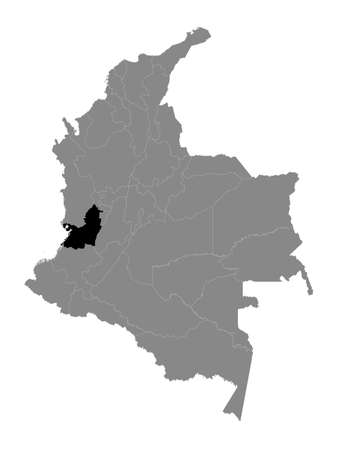Black Location Map of the Colombian Department of Valle del Cauca within Grey Map of Colombia