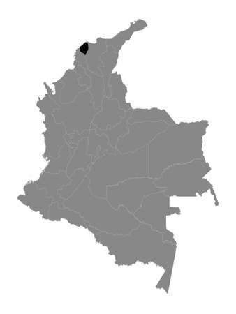 Black Location Map of the Colombian Department of Atlántico within Grey Map of Colombia