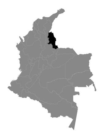 Black Location Map of the Colombian Department of Norte de Santander within Grey Map of Colombia