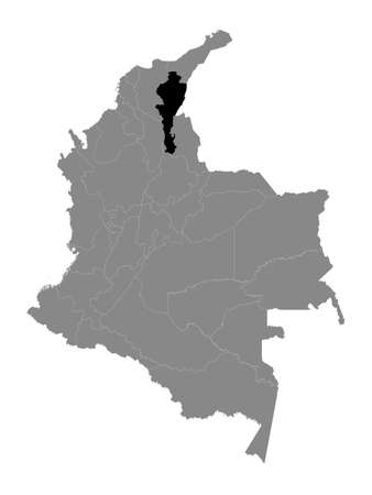 Black Location Map of the Colombian Department of Cesar within Grey Map of Colombia