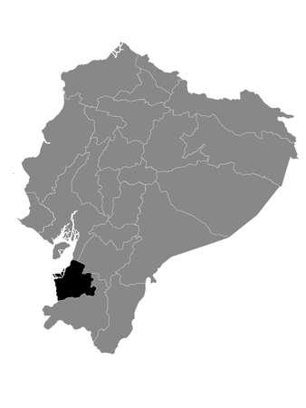 Black Location Map of the Ecuadorian Province of El Oro within Grey Map of Ecuador Vector Illustration