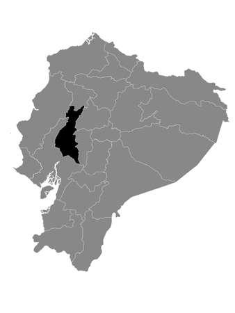 Black Location Map of the Ecuadorian Province of Los Ríos within Grey Map of Ecuador