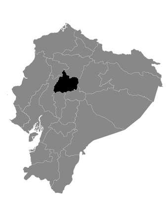Black Location Map of the Ecuadorian Province of Cotopaxi within Grey Map of Ecuador