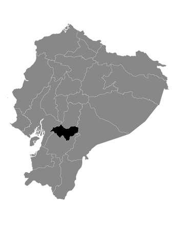 Black Location Map of the Ecuadorian Province of Cañar within Grey Map of Ecuador