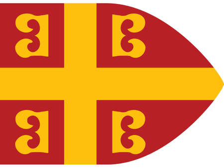 Vector Illustration of the Historical Timeline Byzantine Imperial Flag from the 14th Century Illusztráció