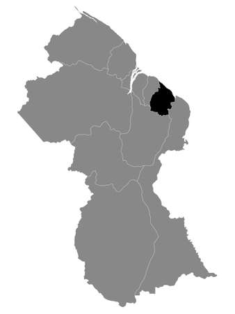 Black Location Map of the Guyanese Region of Mahaica-Berbice within Grey Map of Guyana Ilustrace