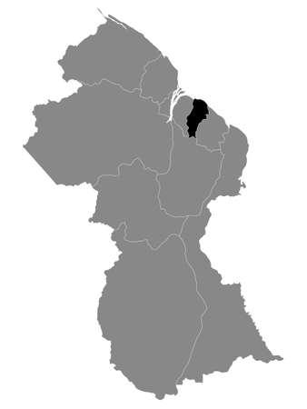 Black Location Map of the Guyanese Region of Demerara-Mahaica within Grey Map of Guyana Ilustrace