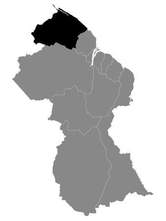 Black Location Map of the Guyanese Region of Barima-Waini within Grey Map of Guyana