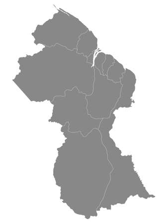 Grey Blank Flat Regions Map of the South American Country of Guyana