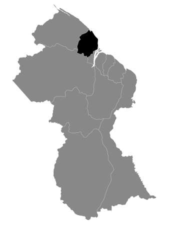 Black Location Map of the Guyanese Region of Pomeroon-Supenaam within Grey Map of Guyana