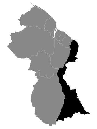 Black Location Map of the Guyanese Region of East Berbice-Corentyne within Grey Map of Guyana