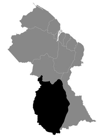 Black Location Map of the Guyanese Region of Upper Takutu-Upper Essequibo within Grey Map of Guyana