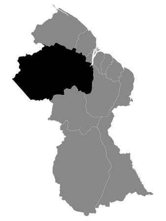 Black Location Map of the Guyanese Region of Cuyuni-Mazaruni within Grey Map of Guyana