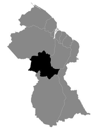 Black Location Map of the Guyanese Region of Potaro-Siparuni within Grey Map of Guyana
