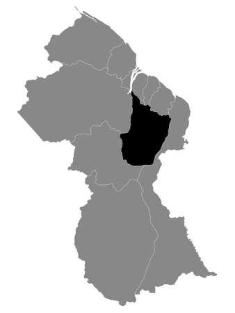 Black Location Map of the Guyanese Region of Upper Demerara-Berbice within Grey Map of Guyana Ilustrace