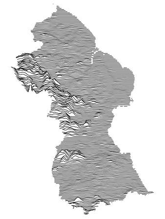 Black and White 3D Contour Topography Map of the South American Country of Guyana Ilustrace