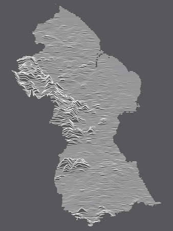 Dark Black and White 3D Contour Topography Map of the South American Country of Guyana