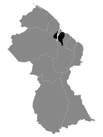 Black Location Map of the Guyanese Region of Essequibo Islands-West Demerara within Grey Map of Guyana
