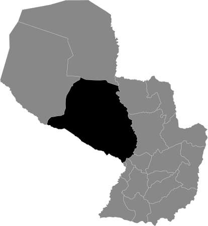 Black Location Map of the Paraguayan Department of Presidente Hayes within Grey Map of Paraguay